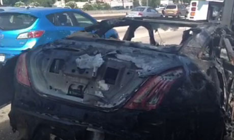 Dick van Dyke's burnt out Jaguar sports car